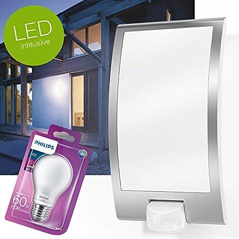 STEINEL | L22 | LED Außenwandleuchte mit BEWEGUNGSMELDER | Aussenleuchte / Außenlampe in weiss | inkl. PHILIPS LED Leuchtmittel E27