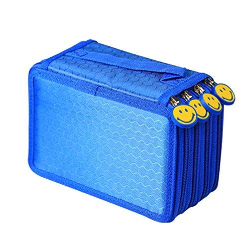 Allright Federmäppchen 4 Fach Federmappe Federtasche 72 Stift Federschachtel Federkästchen Federpennal (Blau)