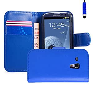 32nd Book Style Faux Leather Wallet Case for Samsung Galaxy S3 Mini (S iii Mini) - Deep Blue