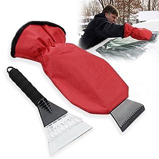 Auto Eiskratzer, Migimi Handschuh Eiskratzer, Auto Winter Eiskratzer, Schneeschaufel Eisschaber Handschuh, Rot+Schwarz
