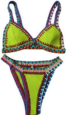 Highdas Nuevo atractivo del bikini de ganchillo hecho a mano determinada de la manera femenina del traje de ba?o del triš¢ngulo de ganchillo traje de ba?o