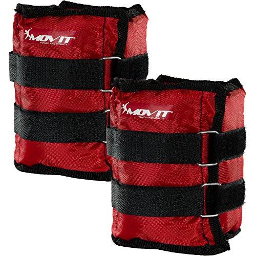Movit Twin Set de Pesas para muñeca/Tobillo, Peso del Brazo, Pesas de 2,0kg, Ejecución de Pesas en Rojo/Peso: 2X 2,0kg