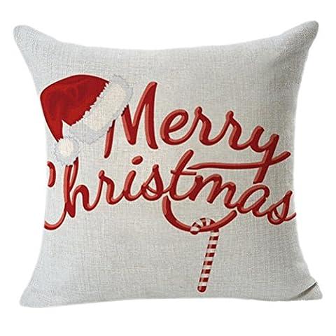 Euone de Noël en lin carré Throw Lin Taie d'oreiller Coussin décoratif Taie d'oreiller, Coton & lin, a, 45cm *45cm