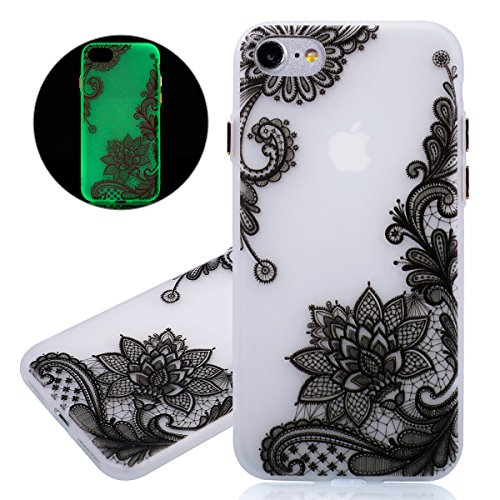 ISAKEN Custodia iPhone 7 - Cover iPhone 7 - Fashion Agganciabile Luminosa Cover Denso Case con LED Lampeggiante per Apple iPhone 7 Ultra Slim Sottile TPU Cover Rigida Gel Silicone Protettivo Skin Custodia Colorate Pattern Style Protettiva Shell Case Cover - Fiori nero