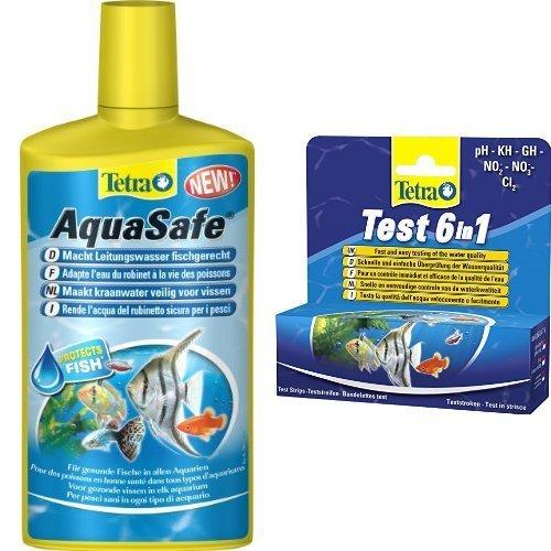 Tetra AquaSafe 500 ml und Tetra Test 6 in 1, Wassertest für das Aquarium, 1 Packung je 25 Teststreifen