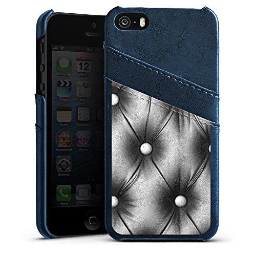Apple iPhone 5s Housse Étui Protection Coque Sofa Cuir Motif Étui en cuir bleu marine