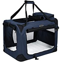 Songmics 50 x 35 x 35 cm Bolsa de transporte para mascotas Transportín plegable para perro Portador Tela Oxford azul oscuro PDC50Z