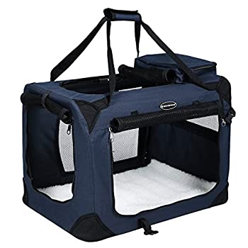 Songmics Caisse De Transport Pliable Pour Chien bleu foncé - L 70 x 52 x 52 cm