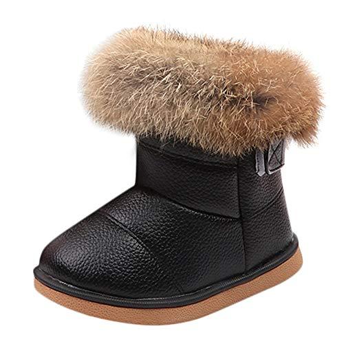 Quaan Kleinkind (21-30) Stiefel, Jungen Sneaker Licht Leder Warm Turnschuhe Beiläufig Anti-Rutsch wasserdicht Schnee Regen Weich atmungsaktiv Festival Retro Klassisch Schuhe - 4t Jacke Jungen Leder