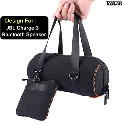 Taslar® Travel Carrying Case [Exact Fit] Bag Protective Skin Motor Bike Bicycle Mount Carabiner Clip Sleeve Bag Pouch for JBL Charge 3 Bluetooth Speaker - Fits The Charger Cable,(Black