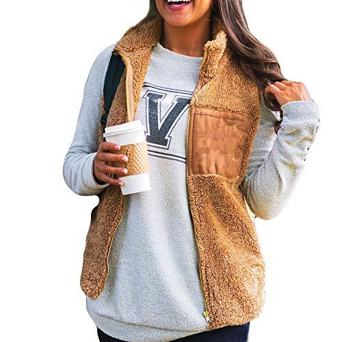 cinnamou Damen Mantel Revers Faux Für Lose Langarm Outwear Tasche Reißverschluss Winterjacke Kurz Coat, Solide Sleeveless Warme Weste - Gürtel Trench Lange Mantel Jacke