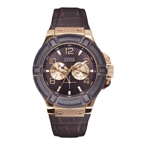 Guess W0040G3 - Reloj analógico de cuarzo para hombre con correa de piel, color marrón