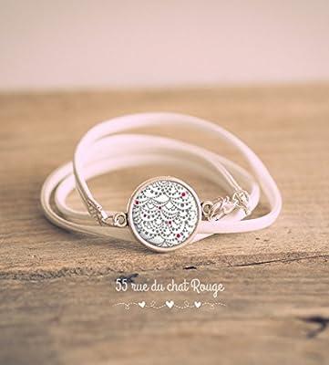 Bracelet double tour simili cuir blanc, cabochon vaguelette, grise et rouge, inspiration Japon