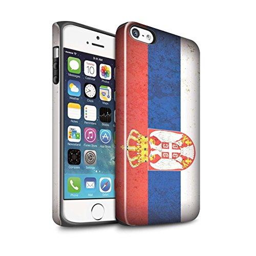 STUFF4 Glanz Harten Stoßfest Hülle / Case für Apple iPhone 7 / Sebia/Serbisch Muster / Europa Flagge Kollektion Sebia/Serbisch