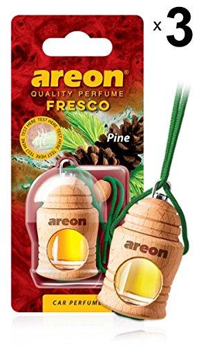 Areon Fresco Auto Parfüm Kiefer Grün Autoduft Hängend Glas Flasche Duftflakon Holz Flakon Lufterfrischer Set Aufhängen Anhänger Spiegel Geruch Erfrischer 4ml 3D ( Pine Pack x 3 ) -