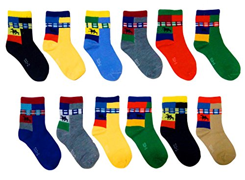 ESELPRO BABY BOYS GIRLS COTTON ANKLE LENGTH SOCKS 2-4 YEARS(SET OF 12 PAIRS) ASSORTED DESIGNS