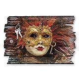 Kreative Feder Maske Venedig Designer Schlüsselbrett, Hakenleiste Landhaus Style, Shabby aus Holz 30x20cm, HSB042
