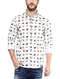 Mufti Mens Off White Mid Rise Slim Fit Casual Shirts (Large)