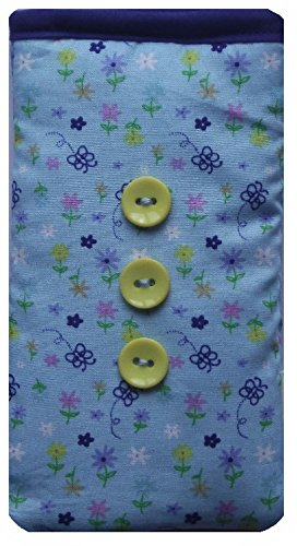 Blue Butterflies and Flowers Print Mobile Phone Sock Pouch For LG G6