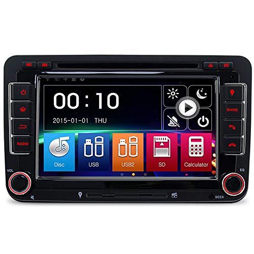 IAUCH Auto-GPS-Navigations-DVD 2 DIN Autoradio mit 16 GB Kartenkarte, Touch-Screen-Radio für VW Passat Golf MK5 MK6 Touran Tiguan unterstützt Bluetooth DAB Lenkradsteuerung Spiegel Link - Screen Autoradio-touch Android