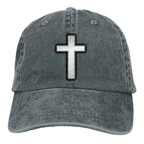 Preisvergleich Produktbild uykjuykj Baseball Caps Hats Christian Cross Denim Baseball Caps Hat Cotton Sport Strap Cap for Men Women Adjustable Unique Personality Cap Baseballmütze