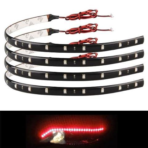 Zimo® 4x 30cm 15 LED Lichterkette Strips Leiste Streifen Lichtband Beleuchtung Auto Motorrad KFZ 12V wasserdicht rot Licht