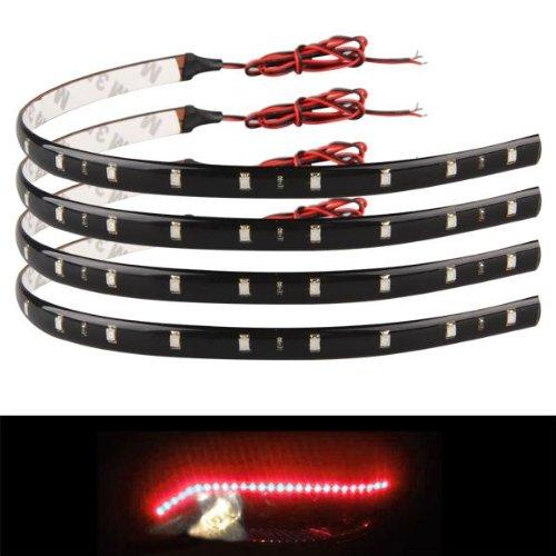 Zimo® 4 x 30cm 15 LED Lichterkette Strips Leiste Streifen Lichtband Beleuchtung Auto Motorrad KFZ 12V wasserdicht rot Licht
