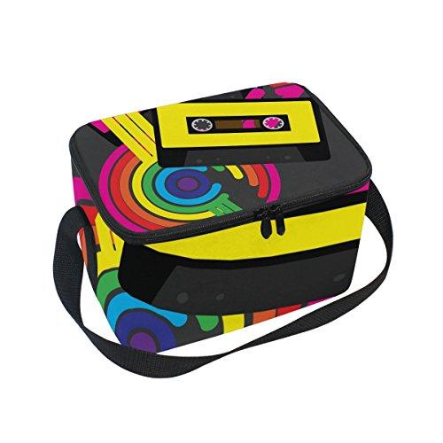 COOSUN Retro Cintas de Cassette Audio aislada Caja de Almuerzo Bolsa de frío Reutilizable Bolso de Mano con Correa para el Hombro Ajustable para Hombres Grande Multi