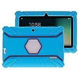 """Fukalu Funda de la Cubierta 7 pulgadas de silicona a prueba de golpes para los niños para Jeja La tableta de 7 """"Dragón táctil de 7 pulgadas, iRULU X1S Tablet de 7 pulgadas, Yuntab Q88 A33 7 pulgadas, iRULU niños de 7 pulgadas, Alldaymall A88X Tablet 7 pulgadas, ibowin P740 7 Pulgadas (Azul)"""