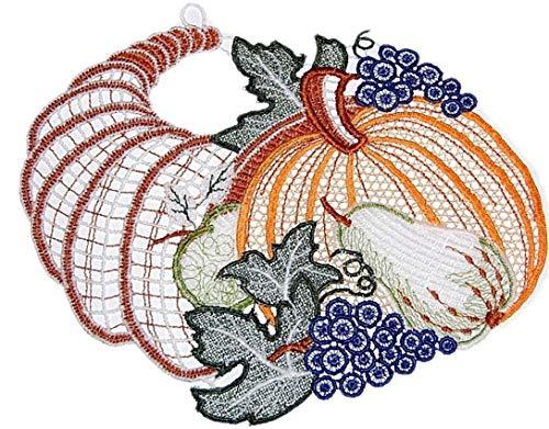 Plauener Spitze  Fensterbild 16x19 cm + Saugnapf Kürbis Weintraube Spitzenbild Herbst Halloween farbig