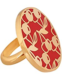 Shaze Gold-plated Red Cherry Cocktail Ring For Women   Gift For Her
