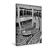 Premium Textil-Leinwand 30 cm x 45 cm hoch, Quartier 206 - Friedrichstadt-Passagen in Berlin-Mitte | Wandbild, Bild auf Keilrahmen, Fertigbild auf BERLIN in Schwarzweiss (CALVENDO Orte)