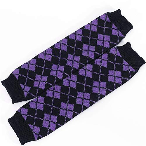 Fushenr Damen Winter- und Herbst-Woll-Strickwolle, Diamant-Optik, warmes Stiefel-Set, Lange Socken (Farbe: Lila) für Frauen - Diamant-knie-socke