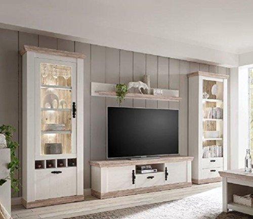 Set, Schrankwand, Wohnzimmerschränke, Schrank, Pinie Weiß, Oslo Pinie  Nachbildung Rückwand, 320x201x37cm Größe Ohne Beleuchtung