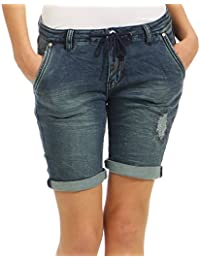 Urban Surface Damen Jogg Jeans Shorts LUS-119 Bermuda Used Look