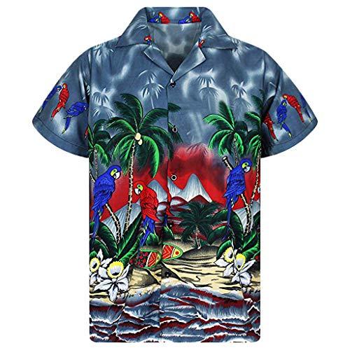 BHYDRY Herren Hawaiihemd Stag Beach Hawaii Print Party Sommerurlaub Phantasie Bluse