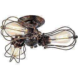 Lamparas de Techo Vintage Ajustable Metal Lluminación Retro Lámpara Industrial Parade E27 para la Salon, Cocina, Desván, Restaurante, Cafe, Club Decoración ( Bronce, Bombillas No Incluidas)