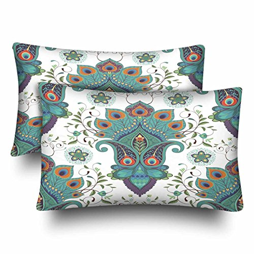 InterestPrint Paisley Blumen Pfauenfedern Kissenbezug Standard Größe 20x30 Set von 2 rechteckigen Kissenbezügen Schutz für Zuhause Couch Sofa Bettwäsche Deko -