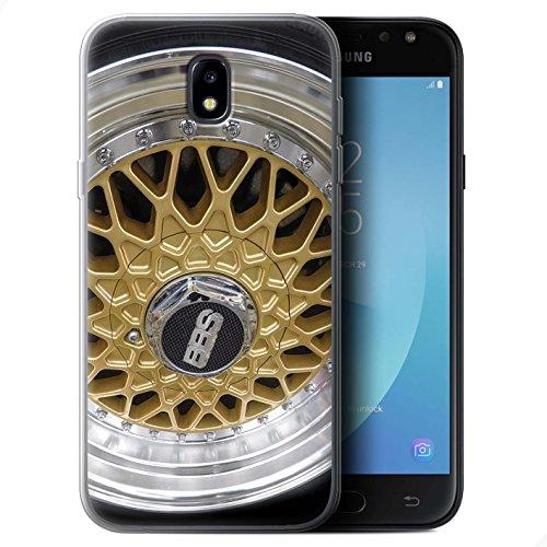 Stuff4 Coque Gel TPU de Coque pour Samsung Galaxy J5 2017/J530 / Or/Chrome Design/Jantes Alliage Collection