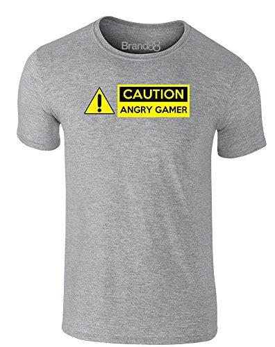 Brand88 - Caution Angry Gamer, Erwachsene Gedrucktes T-Shirt Grau