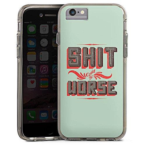 Apple iPhone 6s Plus Bumper Hülle Bumper Case Glitzer Hülle Shit Merde Leben Bumper Case transparent grau