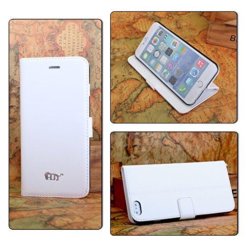 Pdncase iPhone 6 plus Leder Tasche Case Hülle Schaf-Haut Wallet Style Schutzhülle für iPhone 6 plus Farbe Weiß Weiß