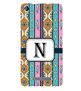 Fiobs Designer Back Case Cover for Micromax Canvas Juice 3 Q392 (Floral Pattern Design Alphabet N)