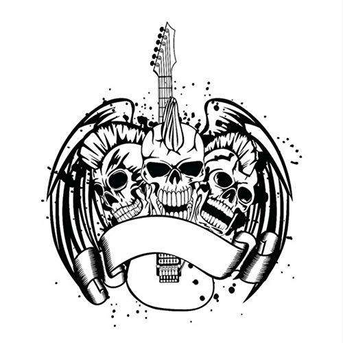 Schädel Flügel Gitarre Schlange Aufkleber Punk Tod Aufkleber Halloween Terror Teufel Poster Name Autofenster Kunst Wandtattoos Dekor Wandbild 58x68 cm (Namen Halloween Für Wein)