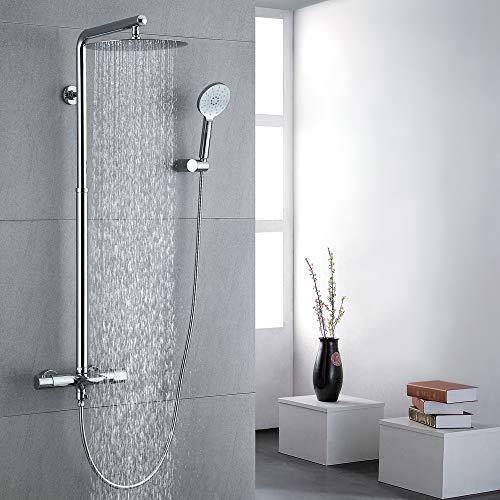 Homelody Duschsystem mit Thermostat Duscharmatur Messing Regendusche Duschset inkl. Überkopfbrause und Handbrause Duschsäule -