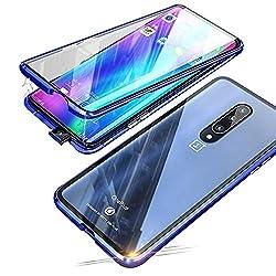 Jonwelsy Kompatibel für OnePlus 7 Pro (6,67 Zoll) Hülle, 360 Grad Vorne und Hinten Gehärtetes Glas Transparente Case Cover, Stark Magnetische Adsorption Metallrahmen Handyhülle