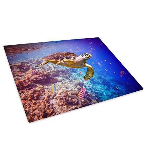 Whats On Your Wall.com Ocean Coral Reef Schildkröte Glasschneidebrett Arbeitsplatte Saver-Schutz