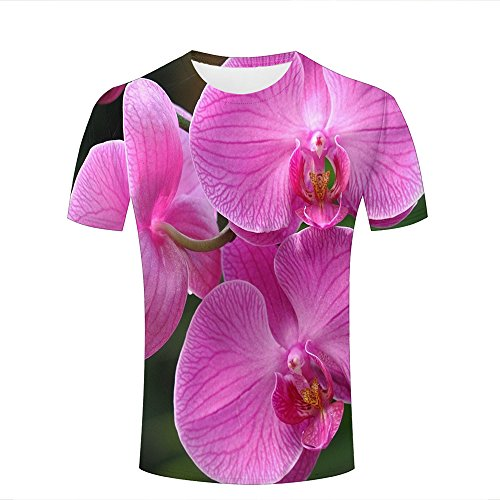 ouzhouxijia Mens 3D Printed T-Shirts Fresh Phalaenopsis Graphics Couple Tees B