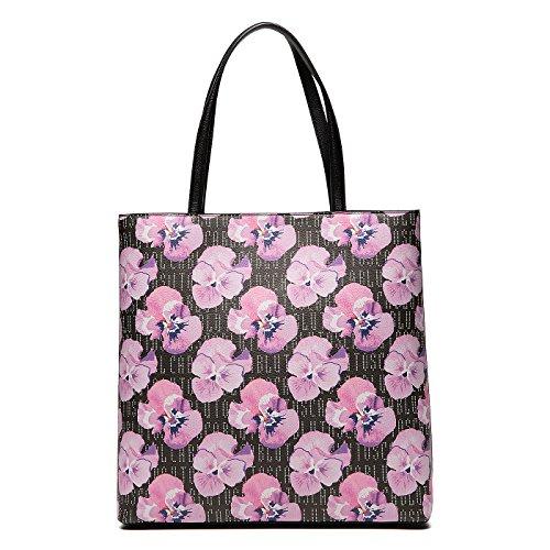 Borsa a spalla con stampa floreale Rosa