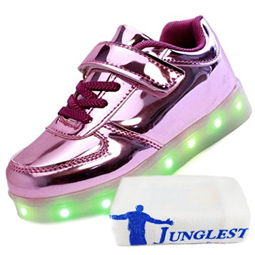 [+Piccolo asciugamano]Luci LED colorati bagliore e ricarica scarpe dargento nuovo scarpe casual USB maschio luminoso e di coppia scarpe femmin c15